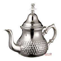 Moroccan Silver Teapot  Integrated Filter Free Handle Cover Hammered Medium 500 ml